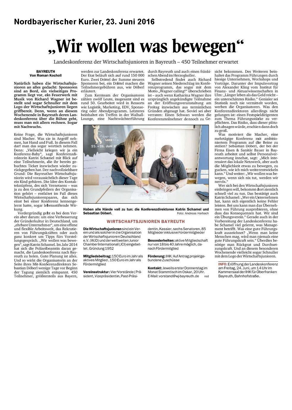 Nordbayerischer Kurier: Wir wollen was bewegen - LAKO 2016